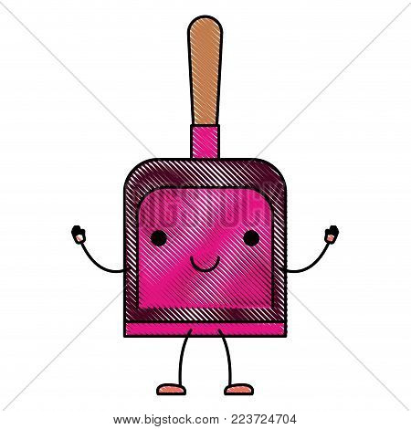 kawaii cartoon hand dustpan top view in colored crayon silhouette vector illustration