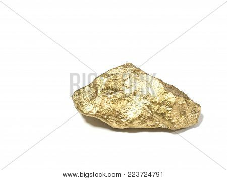 macro Gold ore in the boulder , precious stone on white background
