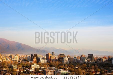 Skyline of office buildings in the wealthy district of Providencia in Santiago de Chile poster