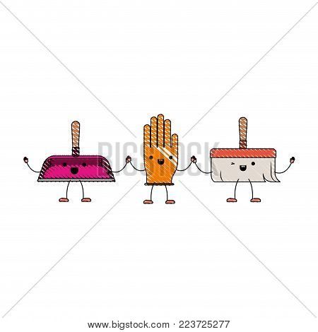 kawaii cartoon hand broom and glove and hand dustpan holding hands in colored crayon silhouette vector illustration