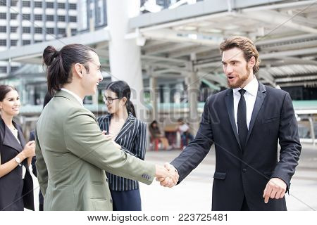 Businessman With Agreement For Working Together For Business Project. Business Handshake And Busines