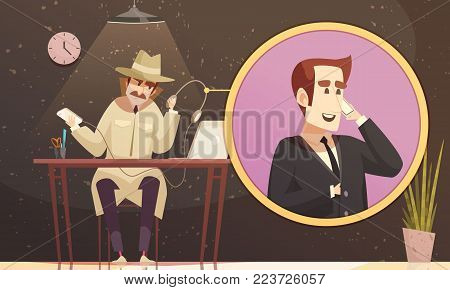 Private detective composition of conceptual images with view of male detective making faux call to suspect vector illustration