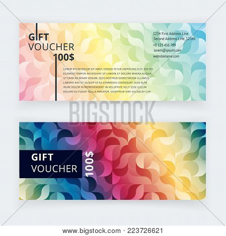 Vector illustration. Gift voucher template with modern pattern, cute gift voucher certificate coupon design template. Gift certificate