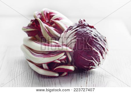 Radicchio of Treviso red chicory on white board.