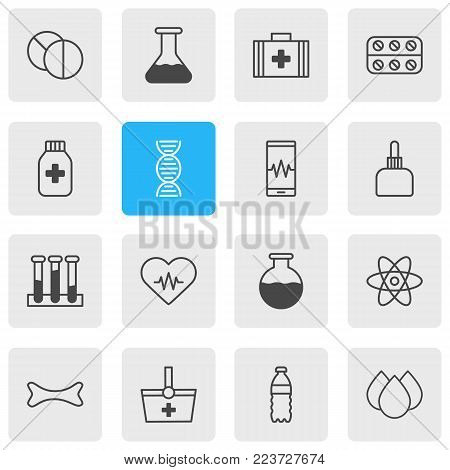 Vector illustration of 16 health icons line style. Editable set of cardiogram signals, painkiller, drip and other icon elements.