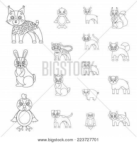 Toy animals outline icons in set collection for design. Bird, predator and herbivore vector symbol stock  illustration.