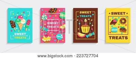 Sweet baked desserts ice cream candies party treats 4 colorful confectionery advertisement posters set isolated vector illustration