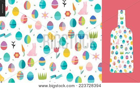 Seamless Easter pattern with a bottle as an example of usage