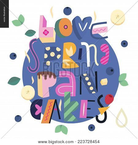 Lettering composition Love Spring Pancakes on the white background and blue circle