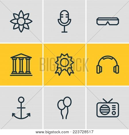 Vector illustration of 9 leisure icons line style. Editable set of spectacles, mike, premium and other icon elements.