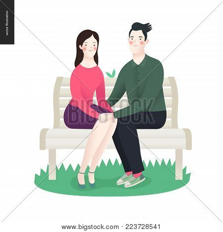 Love, spring, bench - a couple in love sitting on a bench