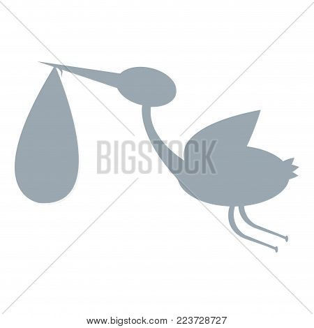 Isolated stork carrying a baby. Vector illustration design