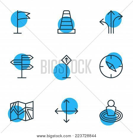 Vector illustration of 9 navigation icons line style. Editable set of compass, guidepost, navigation and other icon elements.