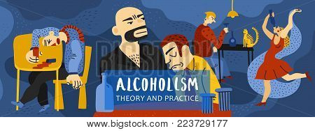 Alcohol addiction composition with theory and practice symbols flat vector illustration