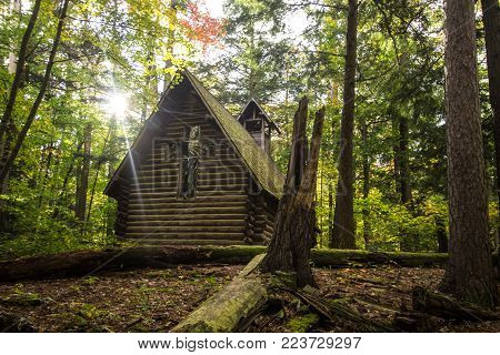 Grayling, Michigan, USA - October 16, 2017: The non denominational Chapel In The Pines is in Hartwick Pines State Park. Funds were made by an anonymous donor and the chapel was built on public parklands.
