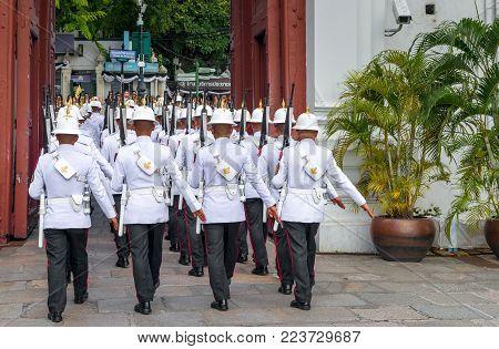 Bangkok, Thailand - November 15, 2016: guard in the Royal Palace  Change of the guard honor at Royal Palace