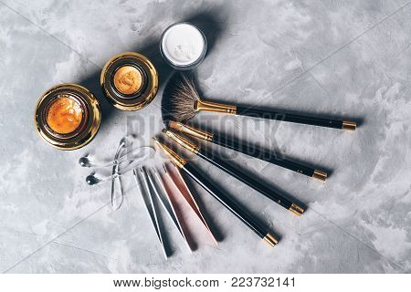 A Set Of Tools, Accessories And Cosmetic For The Care Of The Eyebrows On Grey Background. Brushes, C