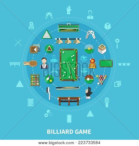 Billiards round composition on blue background with player, sports equipment, game emblems, cleaning accessories vector illustration