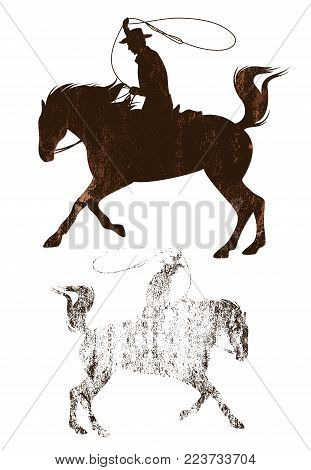 cowboy riding a horse grunge style textured silhouette - wild west theme vector design