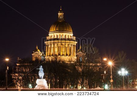 St. Isaac's Cathedral. Saint Petersburg winter night