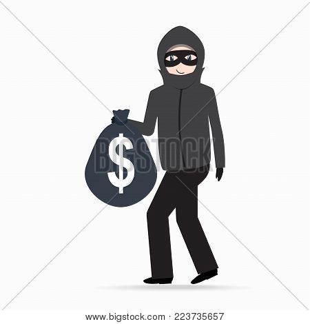 Man holding money bag with dollar sign. Beware pickpocket sign. thief icon