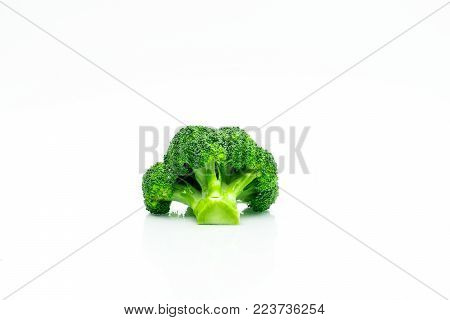 Green broccoli (Brassica oleracea). Vegetables natural source of betacarotene, vitamin c, vitamin k, fiber food, folate. Fresh broccoli cabbage isolated on white background.