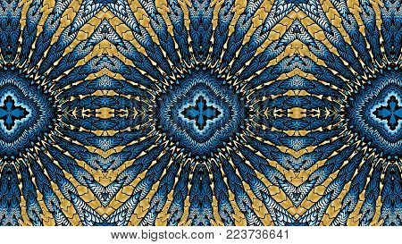 Gold and blue abstract symmetric backgrounds  is computer graphics and can be used in the design of textiles, in the printing industry, in a variety of design projects
