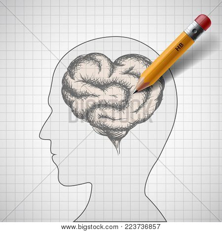 Human brain in the form of the heart. Stock vector illustration.