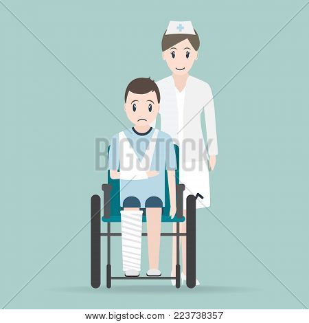 Nurse and Injury man in bandage and wheelchair icon, medical sign icon