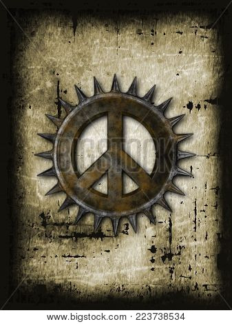 rusty peace symbol with spikes on grunge background - 3d rendering
