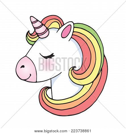 cute cartoon unicorn vector photo free trial bigstock