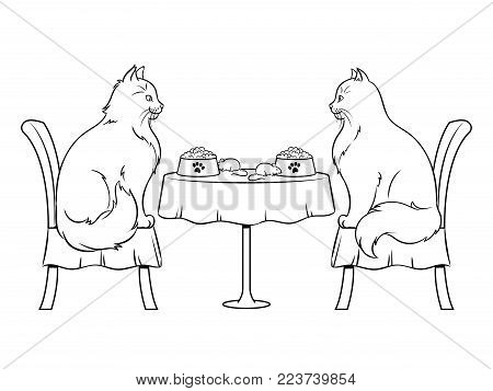 Cats on date in cat restaurant coloring vector illustration. Isolated image on white background. Comic book style imitation.
