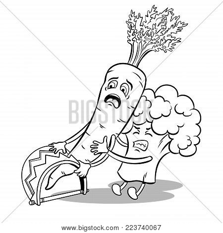 Cartoon carrot fell into trap and broccoli tries to free it coloring vector illustration. Isolated image on white background. Comic book style imitation.
