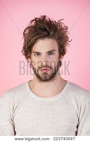 Man With Disheveled Hair In Underwear. Sleepy Man With Beard On Pink Background. Morning Wake Up, Ev