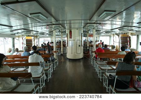 Inside Ferry Ship In Victoria Harbour