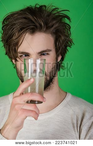 Painkiller Drug, Antidepressant. Man Drink Pill With Water, Illness, Insomnia. Health And Medicine,