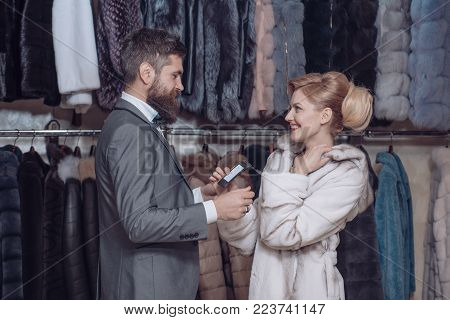 Business Meeting, Moneybags. Date, Couple, Love, Man And Woman. Woman In Fur Coat With Man, Shopping