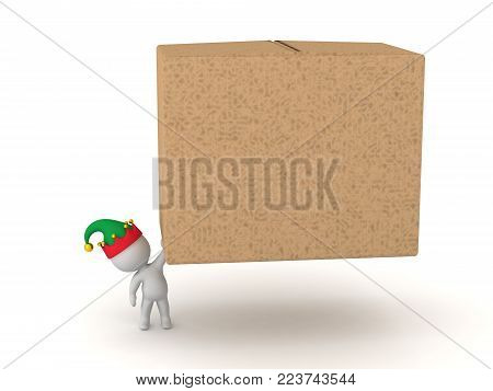 A small 3D character in elf hat holding up a large cardboard box. Isolated on white background.