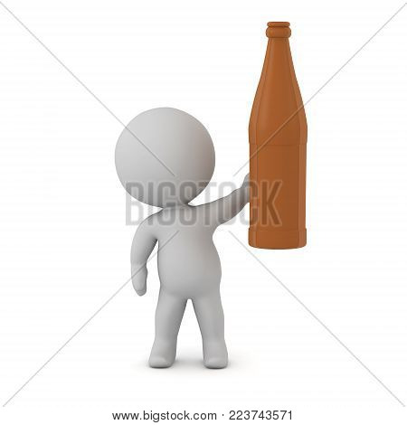 A 3D character holding up a brown beer bottle. Isolated on white background.