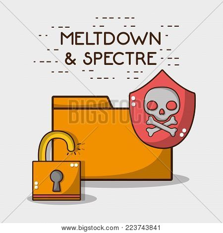 digital file with skull and security padlock vector illustration