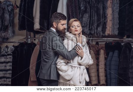 Date, Couple, Love, Man And Woman. Date Of Couple In Love, Bearded Man Embrace Sensual Woman In Fur