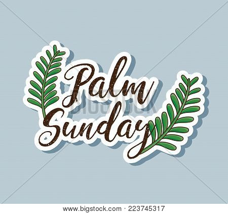 sunday palm branches to traditional religion vector illustration