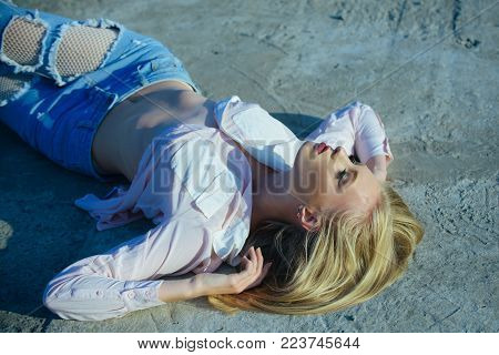 Girl With Long Blond Hair Lie On Sunny Day, Beauty. Sensual Woman With Sexy Belly, Fashion. Fashion,