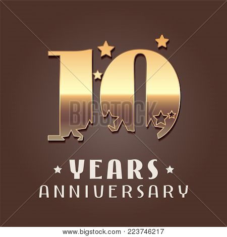 10 years anniversary vector icon, logo. Graphic design element with golden metal effect numbers for 10th anniversary decoration