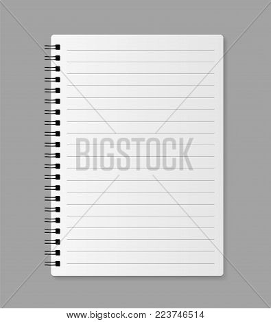 Realistic blank notebook - stock vector illustration.