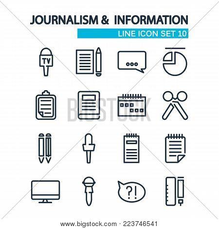Line Journalistic icons collection with reporter correspondent equipment and elements on white background isolated vector illustration