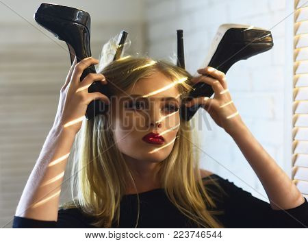 Sensual Woman With Fashionable Shoes, Fashion. Girl With High Heels And Blond Long Hair, Hairstyle.