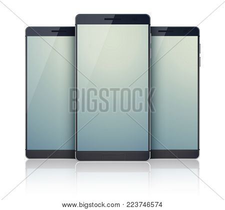 Trio set of realistic smartphones collection on the white background with modern identic mobile black devices with grey digital touchscreens vector illustration