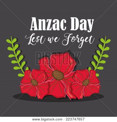 Anzac day with rose and branches leaves vector illustration