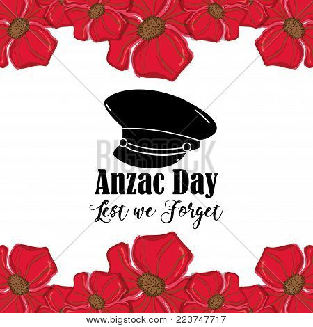 hat soldier to anzac day war vector illustration